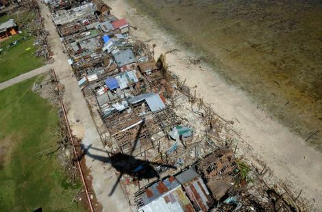 An aerial photo shows the devastation in the aftermath of typhoon Haiyan in Homonhon island,...